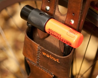Bicycle U-Lock Holster - Rack-Mounted - Leather - for Krypto Mini-Evo 5 Lock