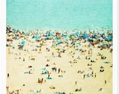 Large Beach Photography // Large Wall Art // Aerial beach Photography // Coney Island Beach Landscape Photography // Beach People - CI Beach
