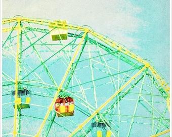 Coney Island Print, Ferris Wheel Photography, Coney Island Wonder Wheel, Nursery Decor, Ferris Wheel Print, Wonder Wheel Detail