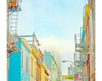 San Francisco Print, Architectural Print, Large San Francisco Print, Neon, Turquoise, Yellow, Red