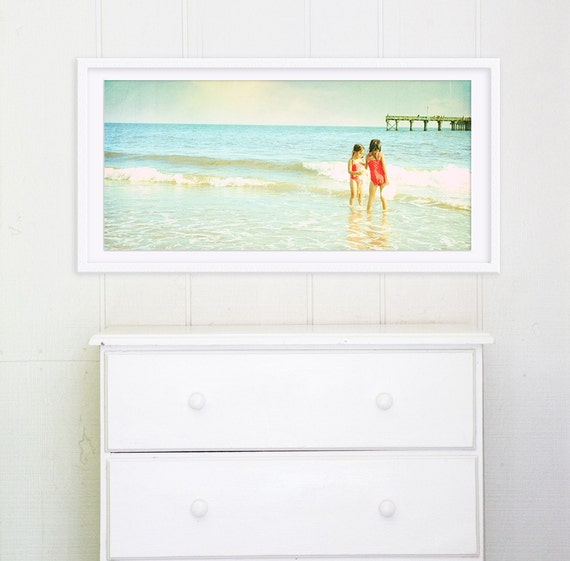 """Oversized Beach Photography // Large Wall Art Coney Island Beach // Large Beach Photography, Nursery Decor, Sister Love - """"Only Sis"""""""