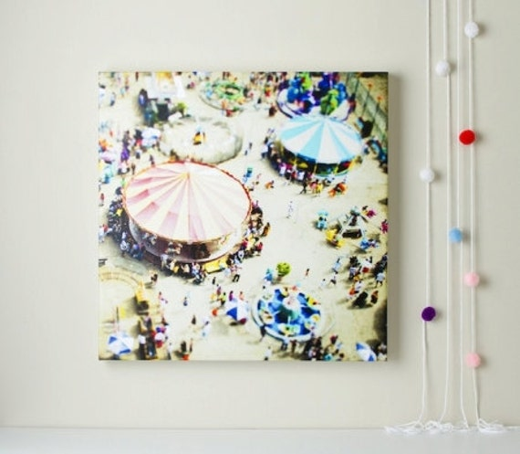 Oversized Canvas Art // Brooklyn Carousels // Extra Large Canvas Wall Art // Day at the Coney Island Carnival