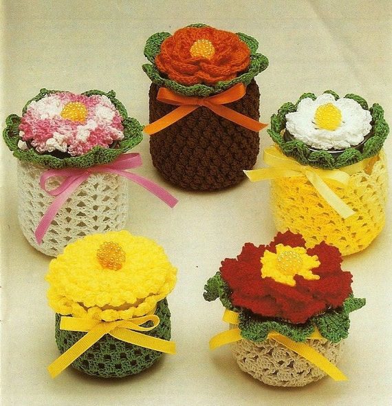 Crochet Patterns Jar Covers : X251 Crochet PATTERN ONLY 5 Jar and Jar Lid Cover Pattern