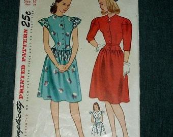 Vintage Simplicity Patterns One Piece Dresses #1580