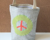 Peace Sign Green Red Lunch Tote Organic
