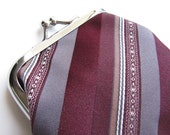 Recycled Necktie Coin Purse - Maroon Gray Stripes
