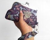 Light Blue, Purple, Pink Paisley Wristlet - Vintage Recycled Necktie