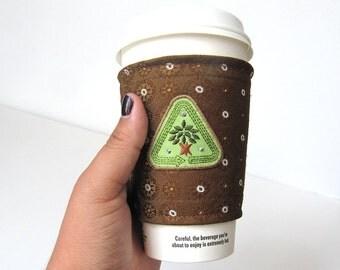 Coffee Cozy Brown Coffee Cozy Necktie Cozy Coffee Sleeve Beverage Holder Recycled Coffee Cozy Coffee Cup Cozy To Go Cup Cozy Tea Cozy