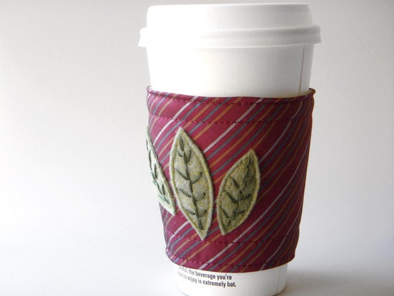 Coffee Cozy Maroon Leaves Recycled Necktie - Green Handstitching
