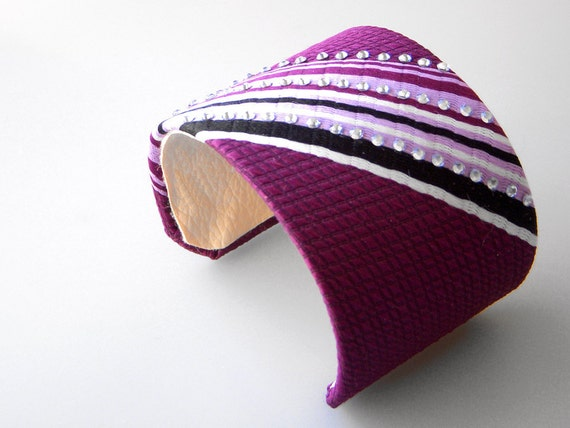 Recycled Necktie Cuff Bracelet Purple Plum Stripes with Rhinestones - 2inch