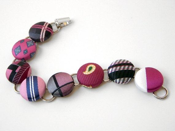 40% OFF - - Fuschia Pink Button Bracelet Recycled Necktie