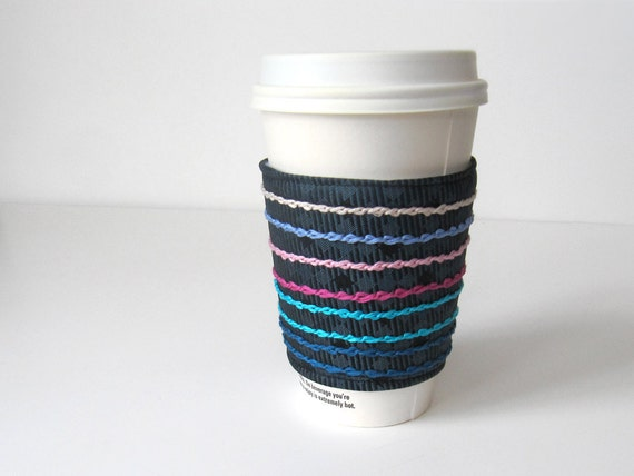 Colorful Chain Stitched Coffee Cozy - Reclaimed Blue Necktie