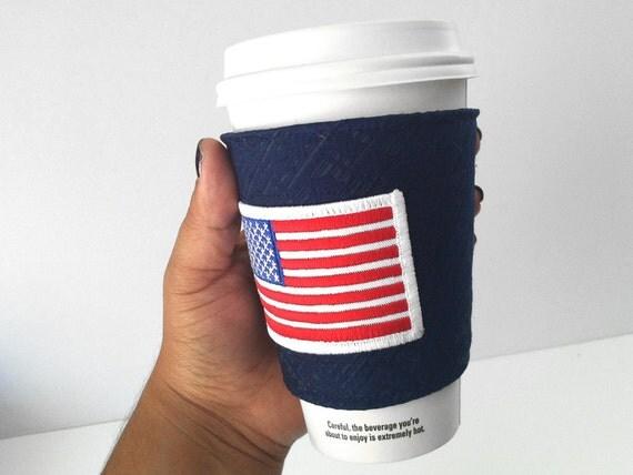 American Flag Coffee Cozy Red White Blue Patriotic
