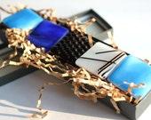 Fused Glass Magnets - Blue Chopstix