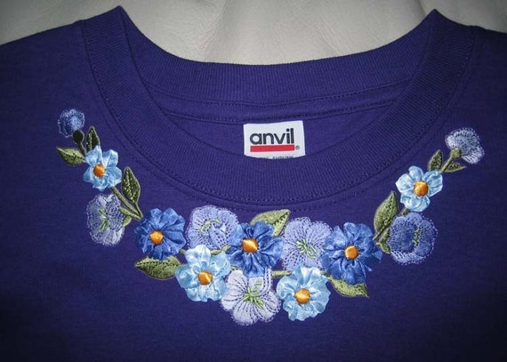 Embroidered applique ribbon roses flower neckline shirt