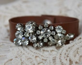 Brown Leather Cuff Bracelet Vintage Pearl Rhinestone Ivory Champagne
