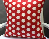 18X18 Red Ikat  Dots Pillow Cover