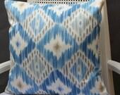 16X16 Blue Ikat Pillow Cover