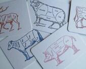 Cuts of Meat - Letterpress Postcards