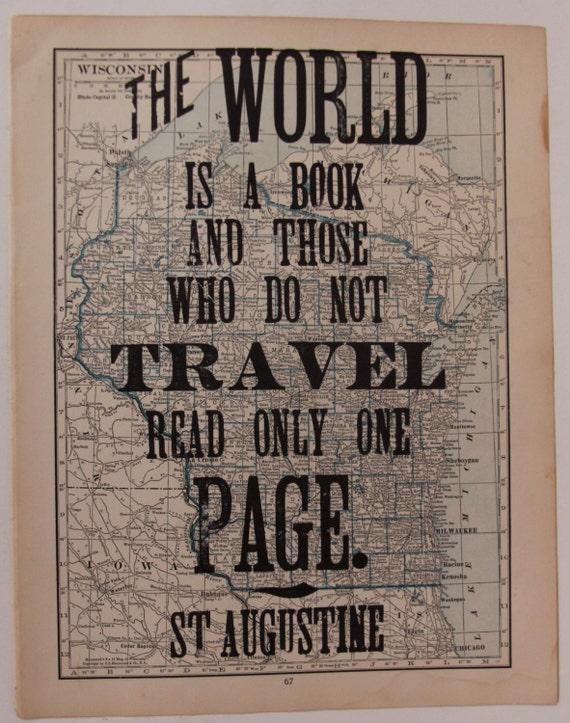 letterpress travel poster on vintage map wisconsin. Black Bedroom Furniture Sets. Home Design Ideas
