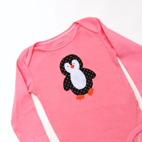Hand Dyed Cora Penguin Bodysuit long sleeve size 6 months READY TO SHIP