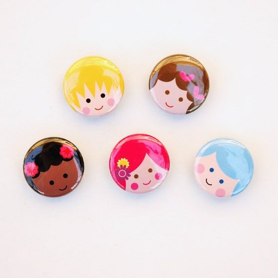 RESERVED for TONYA  Cutie Patooties ... set of 5 magnets in gift tin