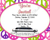 Peace Limo Birthday Invitations - Set of 10 with Envelopes