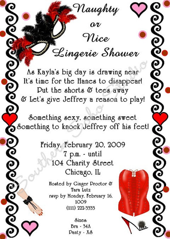 Naughty or Nice Lingerie Bridal Shower Invitations Set of 10