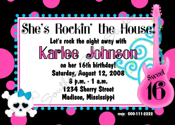 Rockin the House Teen Birthday - Set of 10 Invitations with Envelopes