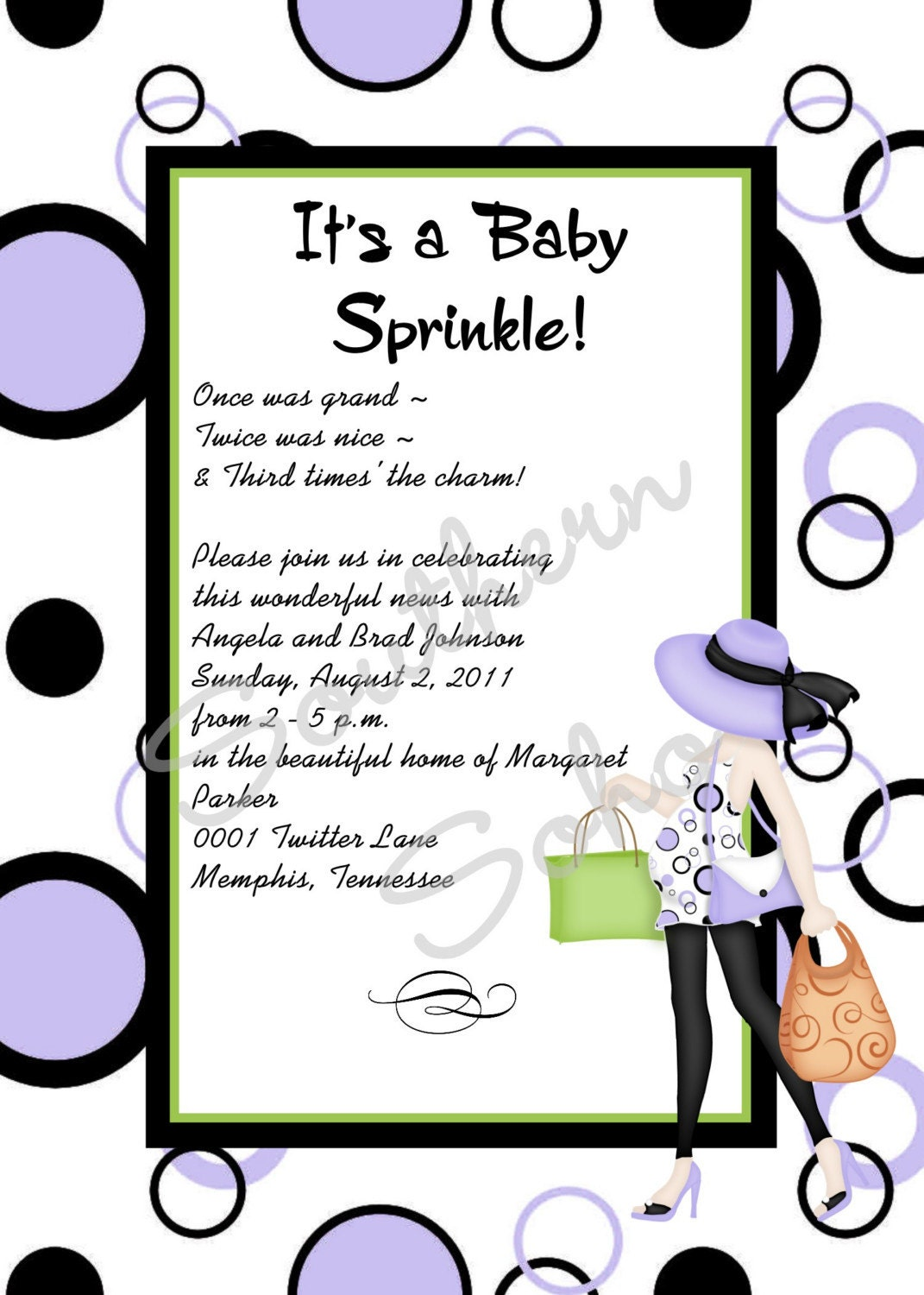 modern mom baby sprinkle or shower invitation set of 10