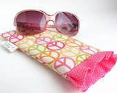 Ruffled Sunglass case / Sunglass Pouch / Eyeglass Case in Citrus Peace Signs