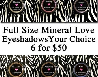 Six Full Size Vegan Eyeshadow Kit Your Choice of Colors