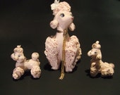 Vintage '50s Pink Spaghetti Poodle Family - 3 Ceramic Dogs