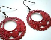 SALE- Tango Red Round Hoop Filigree Earrings