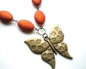 SALE Orange Butterfly Love Necklace