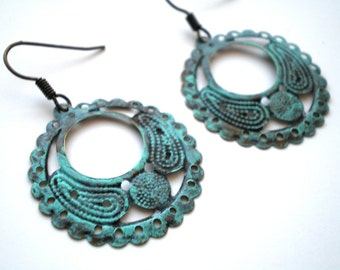 Verdigris Hand Painted Round Hoop Filigree Earrings