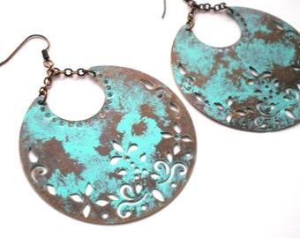 Hand Painted Verdigris Crescent Moon Bohemian Earrings