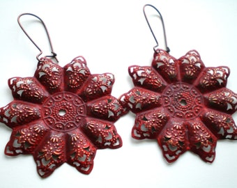 Tango Red Hand Painted Bohemian Star Filigree Earrings