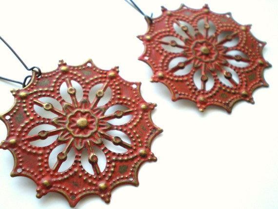 Pumpkin Orange Gypsy Star Earrings