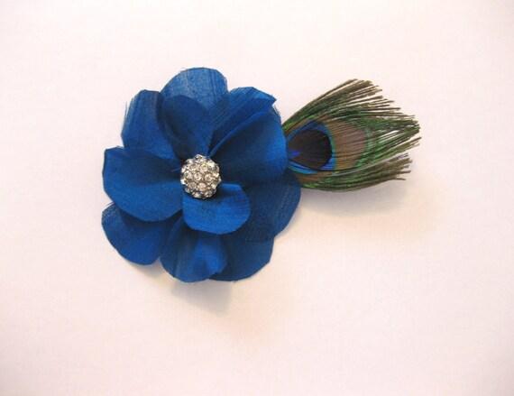 Hair flower, hair piece, bridal hair flower, peacock feather, wedding, spring, summer, silk facinator, rhrinestone, prom, blue, silk flower