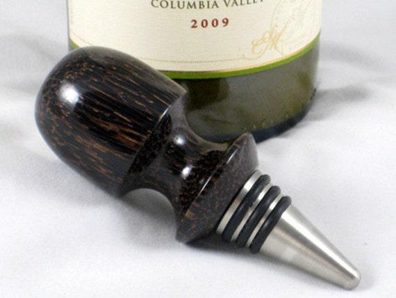 Wine Bottle Stopper Black Palm Wood Oil Vinegar Bottle Or Cruet Stainless Steel Barware