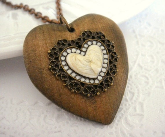 RUSTIC ROMANCE (necklace. heart. ivory. woodland. romantic. vintage inspired. love. brass. valentine. handmade jewelry.)
