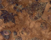 Batik Cotton Fabric: Hand Dyed in Bali from Hoffman -  Sparrow Brown Leaves - Total 1 YD - FabricFascination