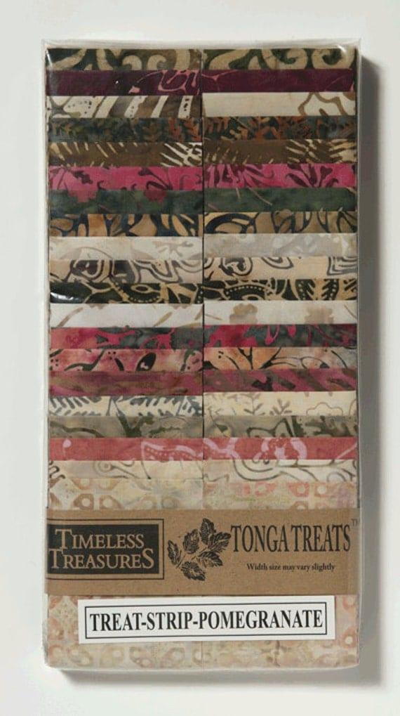 Batik: 2 1/2 inch StripsTonga Treat Strips Pomegranate Batik Jelly Roll
