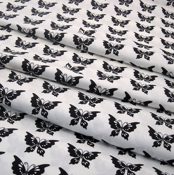 Cotton Fabric: Half Moon Butterfly Fabric in Black and White Cotton - 1 YD