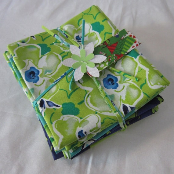 Fabric Bundle: 6 Fat Quarters from Kathy Davis Happiness Collection for Free Spirit in Indigo - 1 1/2 YDs