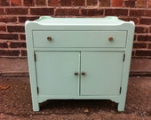 Vintage Side Table Cabinet In Icy Mint Green