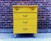 Mid Century Highboy Dresser In Mustard Yellow