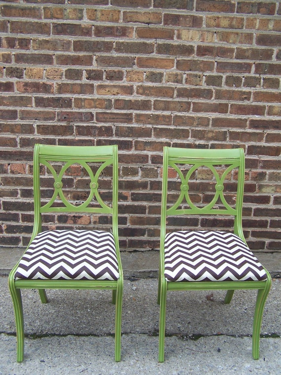 Pair Of Duncan Phyfe Style Chairs In Pea Green
