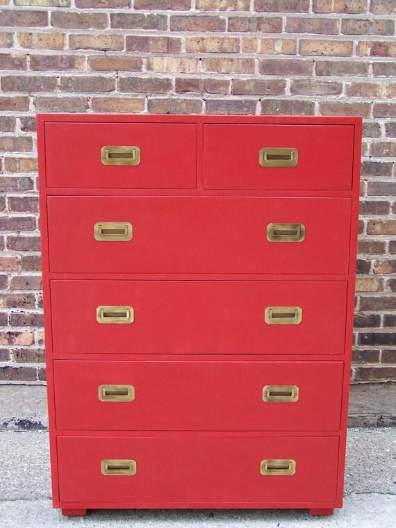 Vintage Highboy Dresser In Lipstick Red